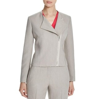 T Tahari Womens Cambria Jacket Asymmetric Zipper Collarless
