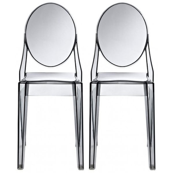 2xhome - Set of Two (2) - Smoke - Victorian Plastic Chair Clear Side Chair Armless