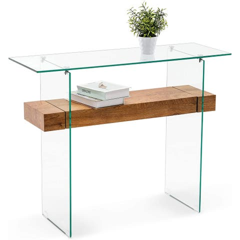 Narrow Glass Console Table with Storage Modern Entryway Table