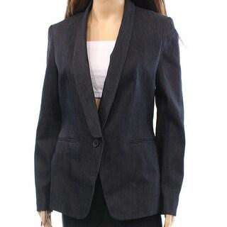 Anne Klein NEW Dark Blue Washed Denim Women's Size 4 Blazer Jacket