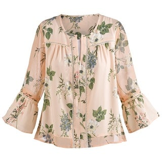 Women's Bell-Sleeve Sorbet Blouse - Floral Print Fashion Top