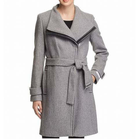 Calvin Klein Black Gray Womens Size 14 Belted Asymmetric Coat