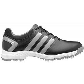 Adidas Junior's Adipower Core Black/ Metallic Silver Golf Shoes Q47071 - 2 Medium