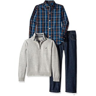 Nautica Boys 2T-4T 3-Piece Half Zip Sweater Set
