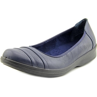 Easy Street Measure Women N/S Round Toe Leather Blue Flats