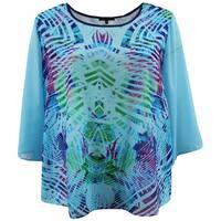 Women Plus Size Flowy Chiffon Multi Print Fashion Blouse Tee Shirt Knit Top Blue G17024L-19