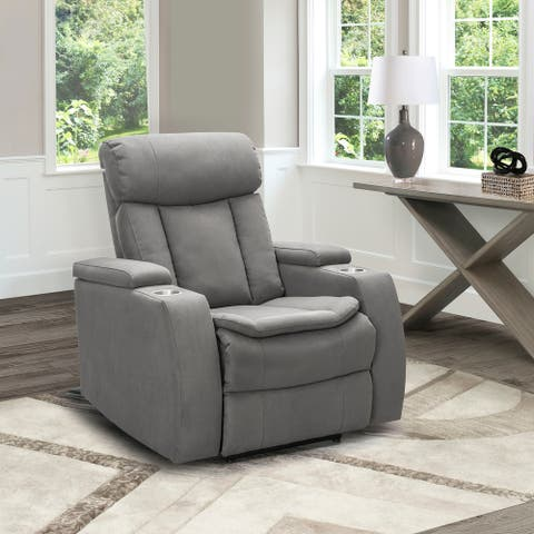 Abbyson Cosmo Fabric Theatre Power Recliner with USB