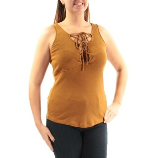 FREE PEOPLE $58 Womens New 1439 Gold Tie Sleeveless Jewel Neck Casual Top XS B+B