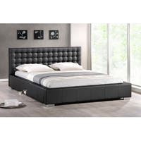 Madison Black Faux Leather Platform Bed w/Upholstered Headboard (Queen)