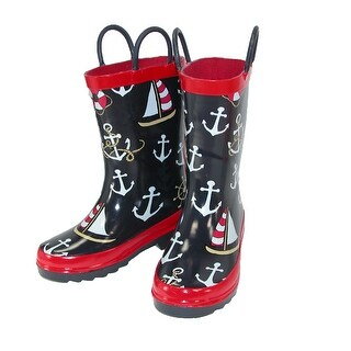 Lazy One Kids' Nautical Print Rain Boots - Navy