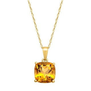 2 1/5 ct Cushion-Cut Citrine Pendant in 14K Yellow Gold