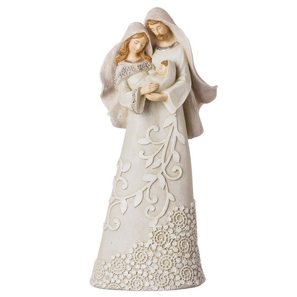 "9.5"" Holy Family Neutral Colors Lace Pattern and Glittered Decorative Christmas Figurine"