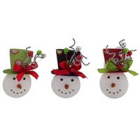 Pack of 6 Red, Black and Green Snowman Ornaments 8""