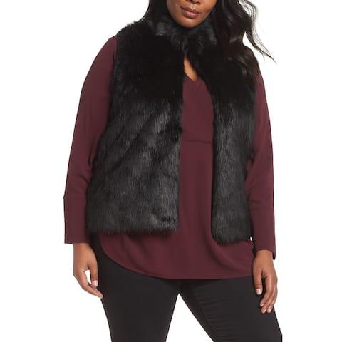 MICHAEL Michael Kors Women's Sweater Black Size 2X Plus Faux Fur Vest