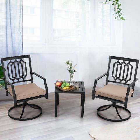 PHI VILLA 3-Pcs Outdoor Dining Set,1 Steel Swivel Dining Chair with Cushion and 1 Black Small Metal Square Coffee Table