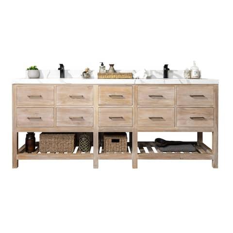 Willow Collections 84 x 22 Parker Solid Teak Wood Bathroom Vanity with 2 in Countertop