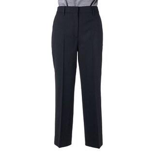 Prada Womens Solid Black Pleated Wool Blend Wide Leg Pants - 42