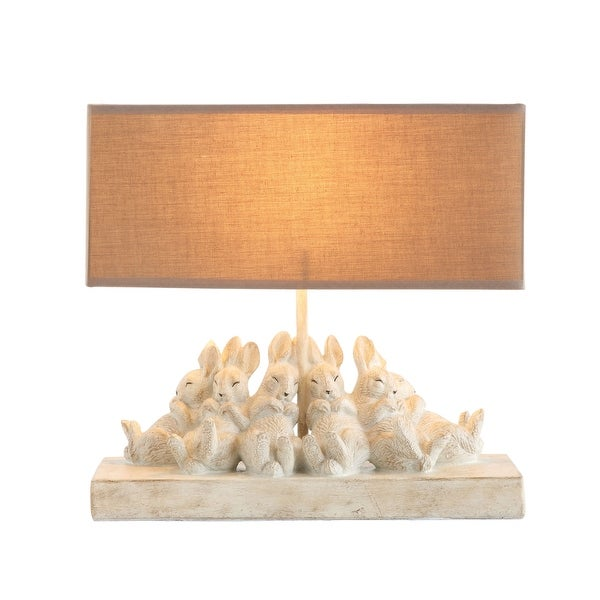 Resin Bunny Table Lamp with Rectangle Sand Color Linen Shade. Opens flyout.