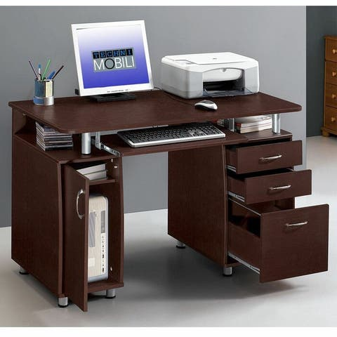 """45"""" MDF Home Office Writing Desk Computer Desk with Drawers"""