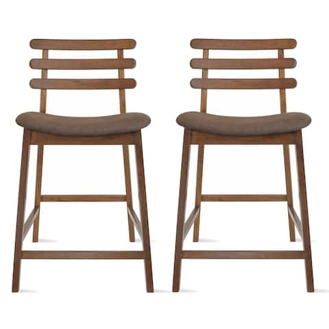 Set of 2 Counter Stools Open Back Medium Dark Wood Cushion Tall Chairs For Restaurant Bar Home