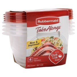 Rubbermaid 7F54-RE-TCHIL Takealongs Deep Square Container, 42 Oz, Pack-4