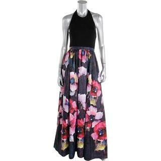 Aqua Womens Floral Print Halter Evening Dress