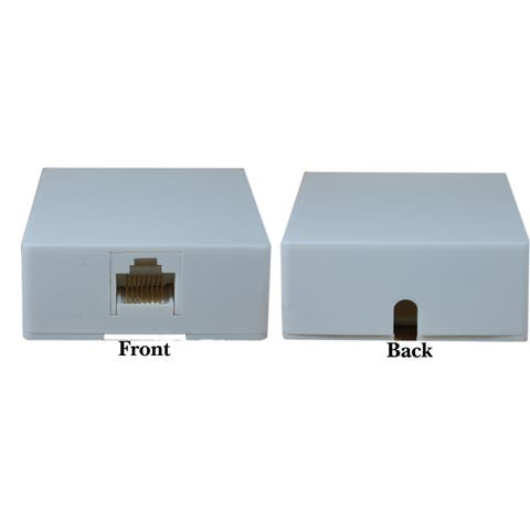 Offex Phone Surface Mount Jack, White, RJ45, Data / Voice, 8P8C (8 Pin 8 Conductor), Voice Only