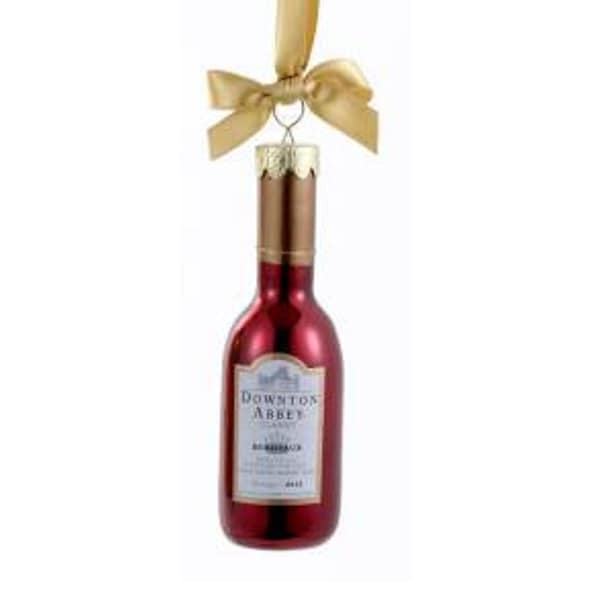 "4.5"" Downton Abbey Shiny Red Glass Claret Wine Bottle Christmas Ornament"