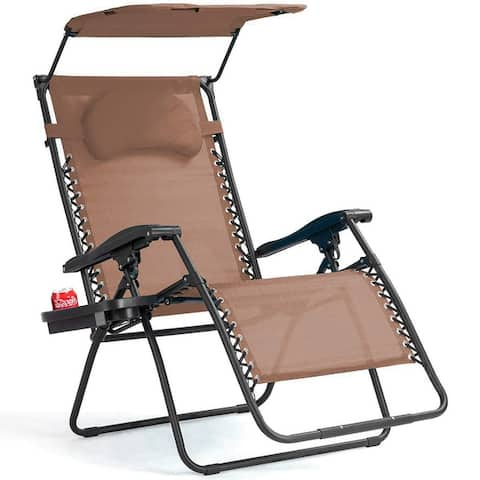 Folding Zero Gravity Lounge Chair Wide Recliner with Shade Canopy