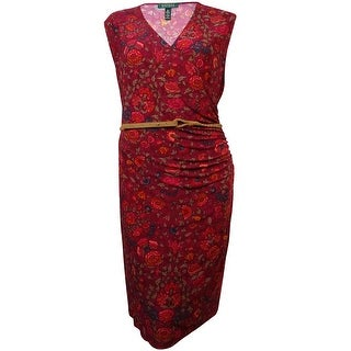 Lauren Ralph Lauren Women's Belted Floral Jersey Dress - 3x