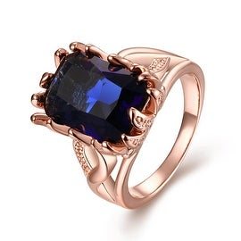 Thick Cut Rose Gold Saphire Gem Ring