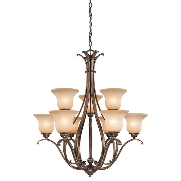 """Vaxcel Lighting CH35409 Monrovia 9-Light Two Tier Chandelier with Frosted Glass Shades - 31"""" Wide"""