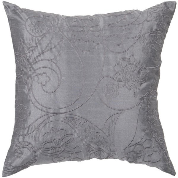 """18"""" Slate Blue Floral Paisley Swirl Decorative Down Throw Pillow"""