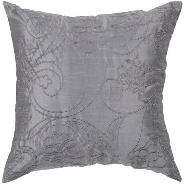 "18"" Slate Blue Floral Paisley Swirl Decorative Throw Pillow"