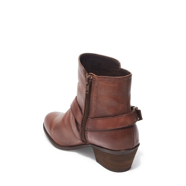 Me Too Womens ZURI Leather Round Toe Ankle Fashion Boots, DK LUGGAGE, Size 7.5