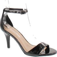 City Classified Women's Printer Wide Strap Ankle Strap Single Sole 3 Inch Heels