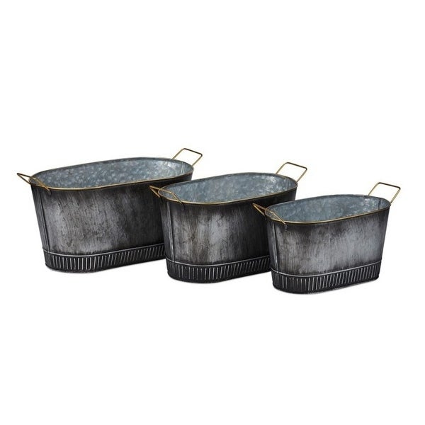 "Set of 3 Gray Gilbert Graphite Finish Galvanized Planters with Gold Color Handles 16.25"" - N/A"