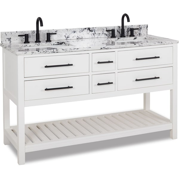 "Jeffrey Alexander VN-WAV-60-WB Wavecrest 60"" Free Standing Single Basin Vanity Set with Wood Cabinet and Engineered Marble"