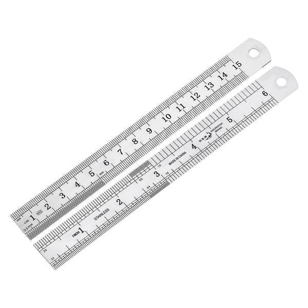 Details about  /Straight Ruler 15cm 6 Inch Meric Stainless Steel Measuring Tool with Hole 12pcs