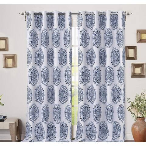 DriftAway Emily Medallion Floral Pattern Window Curtain Grommet 2 Layers 2 Panels
