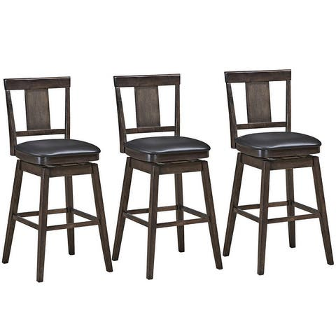 Swivel Bar Stool 29 inch Upholstered Pub Height Bar Chair with Rubber - Dark Grey