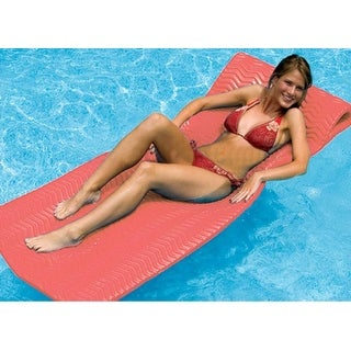 "74"" Water Sports Sofskin Coral Red Floating Swimming Pool Mattress Raft"