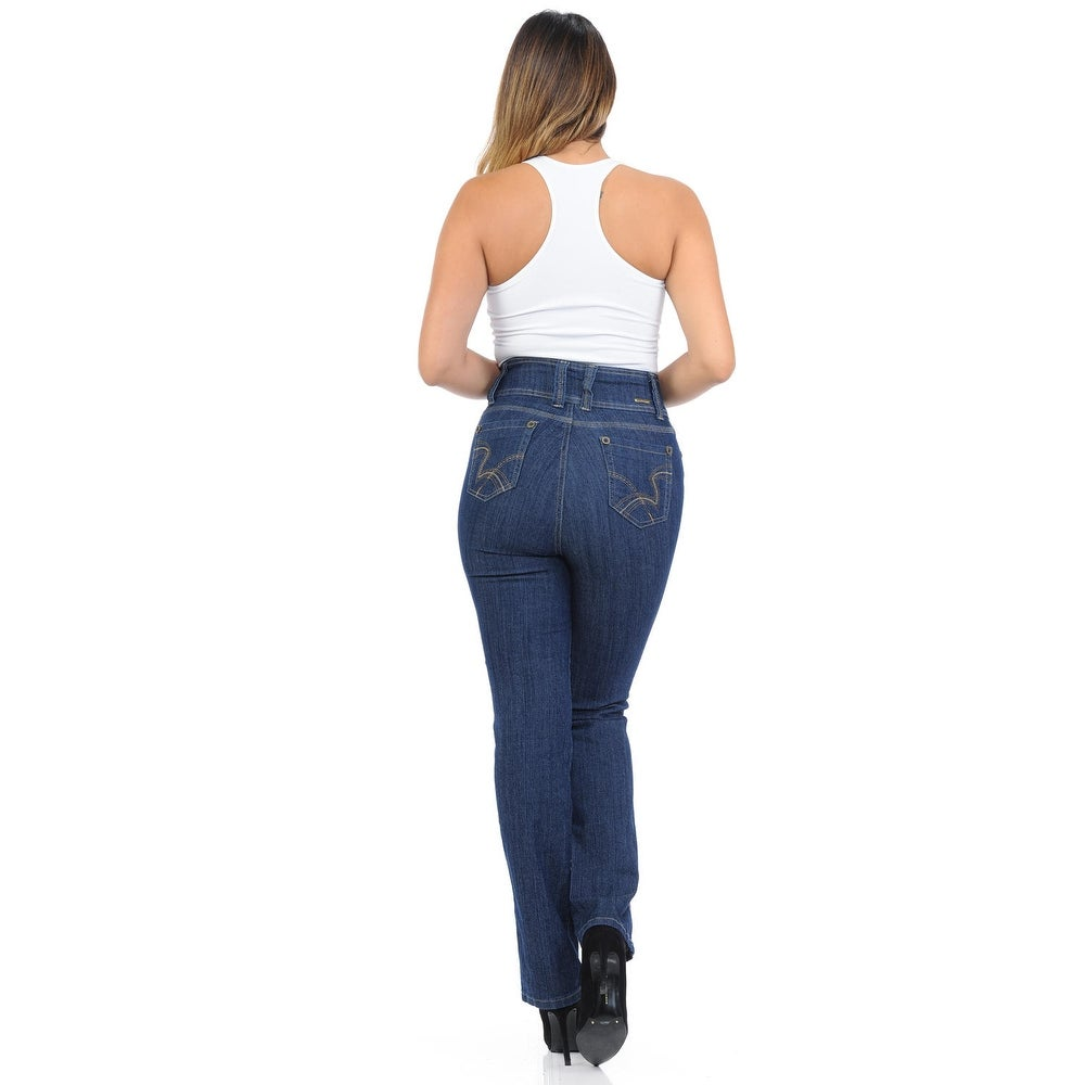 best sneakers 0755c 1fa70 Pasion Women's Jeans - Push Up - Bootcut - High Waist - Style B925D2-RW -  Color - Navy - Size - 15
