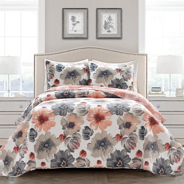 Levine Grey and Yellow Floral 3-piece Quilt Set. Opens flyout.