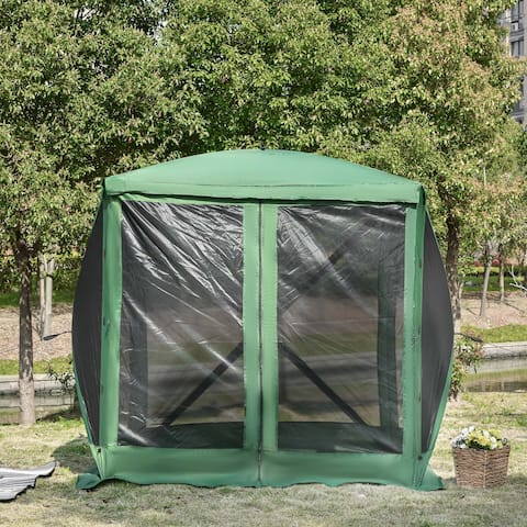 Outsunny 7'x7' Pop Up Camping Canopy Tent with Ventilating Mesh Screen, Portable Carry Bag for Outdoor Party
