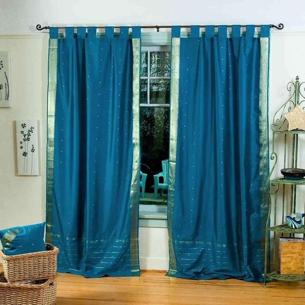 Turquoise Tab Top Sheer Sari Curtain / Drape / Panel - Pair. Opens flyout.