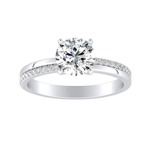 Auriya 14k Gold Modern 1ct Moissanite and Diamond Engagement Ring 1/8ctw