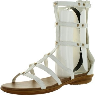 Refresh Vegas-01 Women's Gladiator Ankle Bootie Strap Sandals - White - 8 b(m) us