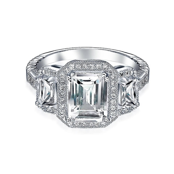 925 Silver 3 Stone Halo CZ Sterling Silver Engagement Ring