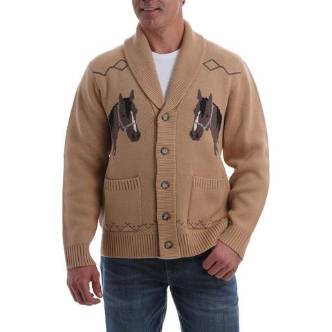 Cinch Western Sweater Men Long Sleeve Horse Cardigan Button - Brown - L